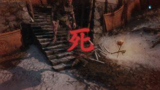 【SEKIRO】赤鬼と御座狼のタンゴ。火吹き筒片手に『さぁ、踊ろう!』 で、崖下ポイ♪の巻。